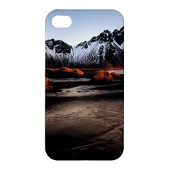 Vestrahorn Iceland Winter Sunrise Landscape Sea Coast Sandy Beach Sea Mountain Peaks With Snow Blue Apple Iphone 4/4s Premium Hardshell Case