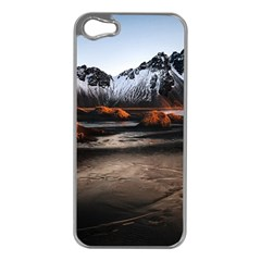 Vestrahorn Iceland Winter Sunrise Landscape Sea Coast Sandy Beach Sea Mountain Peaks With Snow Blue Apple Iphone 5 Case (silver)
