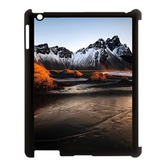 Vestrahorn Iceland Winter Sunrise Landscape Sea Coast Sandy Beach Sea Mountain Peaks With Snow Blue Apple Ipad 3/4 Case (black)