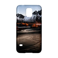 Vestrahorn Iceland Winter Sunrise Landscape Sea Coast Sandy Beach Sea Mountain Peaks With Snow Blue Samsung Galaxy S5 Hardshell Case