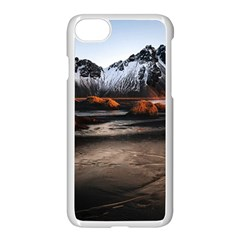 Vestrahorn Iceland Winter Sunrise Landscape Sea Coast Sandy Beach Sea Mountain Peaks With Snow Blue Apple Iphone 7 Seamless Case (white)