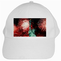 The Statue Of Liberty And 4th Of July Celebration Fireworks White Cap