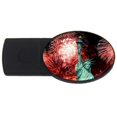 The Statue Of Liberty And 4th Of July Celebration Fireworks Usb Flash Drive Oval (2 Gb)