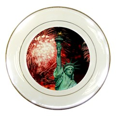The Statue Of Liberty And 4th Of July Celebration Fireworks Porcelain Plates