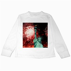 The Statue Of Liberty And 4th Of July Celebration Fireworks Kids Long Sleeve T Shirts
