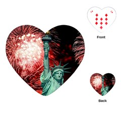 The Statue Of Liberty And 4th Of July Celebration Fireworks Playing Cards (heart)