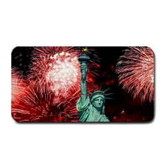 The Statue Of Liberty And 4th Of July Celebration Fireworks Medium Bar Mats