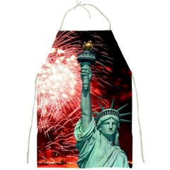 The Statue Of Liberty And 4th Of July Celebration Fireworks Full Print Aprons