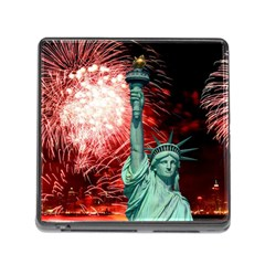 The Statue Of Liberty And 4th Of July Celebration Fireworks Memory Card Reader (square)