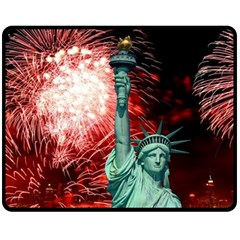 The Statue Of Liberty And 4th Of July Celebration Fireworks Fleece Blanket (medium)