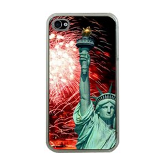 The Statue Of Liberty And 4th Of July Celebration Fireworks Apple Iphone 4 Case (clear)