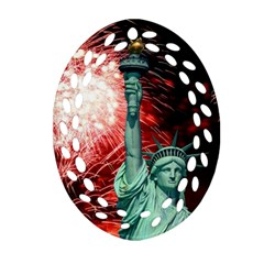 The Statue Of Liberty And 4th Of July Celebration Fireworks Oval Filigree Ornament (two Sides)