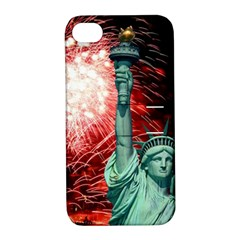 The Statue Of Liberty And 4th Of July Celebration Fireworks Apple Iphone 4/4s Hardshell Case With Stand