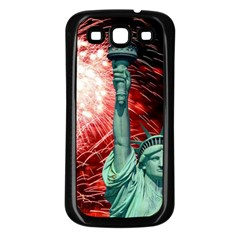 The Statue Of Liberty And 4th Of July Celebration Fireworks Samsung Galaxy S3 Back Case (black)
