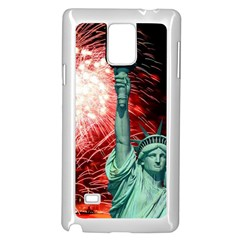 The Statue Of Liberty And 4th Of July Celebration Fireworks Samsung Galaxy Note 4 Case (white)