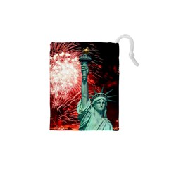 The Statue Of Liberty And 4th Of July Celebration Fireworks Drawstring Pouches (xs)