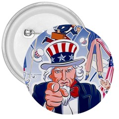 United States Of America Celebration Of Independence Day Uncle Sam 3  Buttons