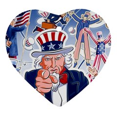 United States Of America Celebration Of Independence Day Uncle Sam Ornament (heart)