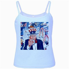 United States Of America Celebration Of Independence Day Uncle Sam Baby Blue Spaghetti Tank