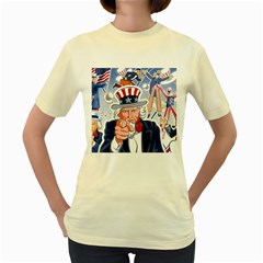 United States Of America Celebration Of Independence Day Uncle Sam Women s Yellow T Shirt