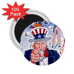 United States Of America Celebration Of Independence Day Uncle Sam 2 25  Magnets (100 Pack)