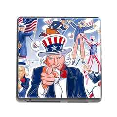 United States Of America Celebration Of Independence Day Uncle Sam Memory Card Reader (square)
