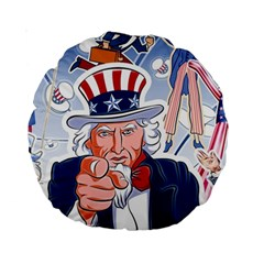 United States Of America Celebration Of Independence Day Uncle Sam Standard 15  Premium Round Cushions