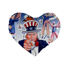United States Of America Celebration Of Independence Day Uncle Sam Standard 16  Premium Heart Shape Cushions