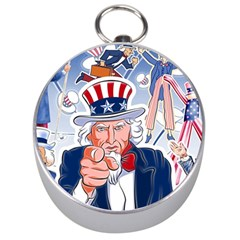 United States Of America Celebration Of Independence Day Uncle Sam Silver Compasses