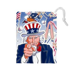 United States Of America Celebration Of Independence Day Uncle Sam Drawstring Pouches (large)