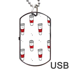 Coffee Cup Glass Dog Tag Usb Flash (two Sides)