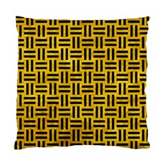 Woven1 Black Marble & Yellow Marble (r) Standard Cushion Case (two Sides)