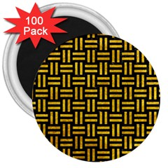 Woven1 Black Marble & Yellow Marble 3  Magnet (100 Pack)