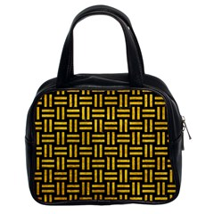 Woven1 Black Marble & Yellow Marble Classic Handbag (two Sides)