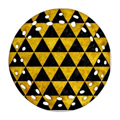 Triangle3 Black Marble & Yellow Marble Ornament (round Filigree)