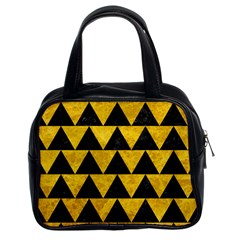 Triangle2 Black Marble & Yellow Marble Classic Handbag (two Sides)
