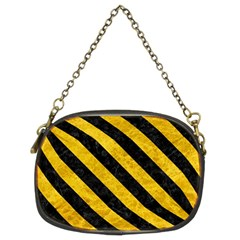 Stripes3 Black Marble & Yellow Marble (r) Chain Purse (two Sides)