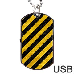 Stripes3 Black Marble & Yellow Marble Dog Tag Usb Flash (two Sides)