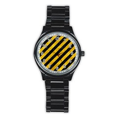 Stripes3 Black Marble & Yellow Marble Stainless Steel Round Watch