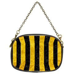 Stripes1 Black Marble & Yellow Marble Chain Purse (two Sides)