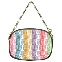 Digital Print Scrapbook Flower Leaf Color Green Red Purple Yellow Blue Pink Chain Purses (two Sides)