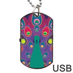 Colorful Peacock Line Dog Tag Usb Flash (two Sides)