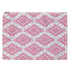 Flower Floral Pink Leafe Cosmetic Bag (xxl)
