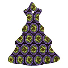 Background Colour Star Flower Purple Yellow Ornament (christmas Tree)