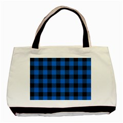 Black Blue Check Woven Fabric Basic Tote Bag (two Sides)