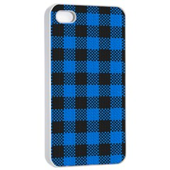 Black Blue Check Woven Fabric Apple Iphone 4/4s Seamless Case (white)