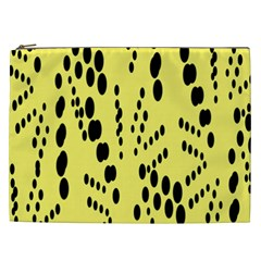 Circular Dot Selections Circle Yellow Cosmetic Bag (xxl)