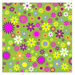 Colorful Floral Flower Large Satin Scarf (square)