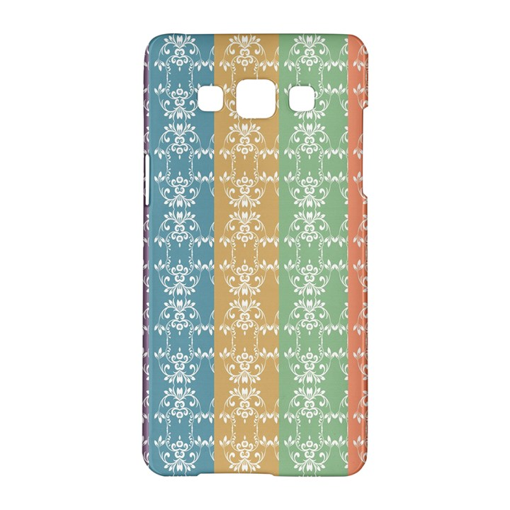 Digital Print Scrapbook Flower Leaf Color Green Red Purple Yellow Blue Pink Black Brown Samsung Galaxy A5 Hardshell Case