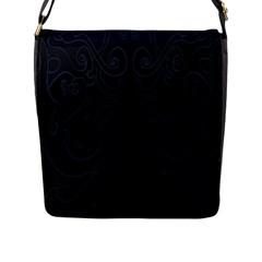 Flower Floral Blue Black Flap Messenger Bag (l)